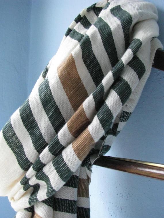 Cotton Scarf-Organic Cotton stripe Scarf- Men Women- Stripe Organic Green  Khaki Camel and white Ethiopian Hand-woven- Hot trend 2013