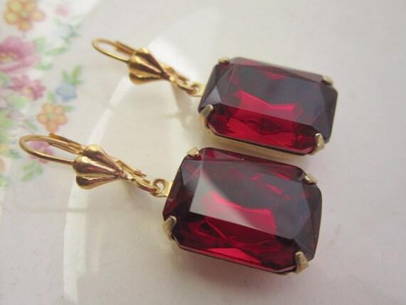 Ruby Red Earrings Vintage Crystal Earrings Estate Style Earrings Bridal Wedding Jewelry