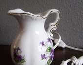 Vintage Porcelain Floral Pitcher Perfume Burner Nite Lite by Irice