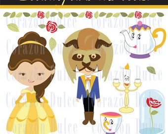 INSTANT DOWNLOAD Beauty and the beast  - Personal and Commercial Use Clip Art-