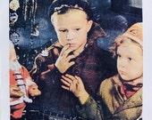 MARX Train  Boy & Girl Copy Print Holiday Wishes 1940's-50's