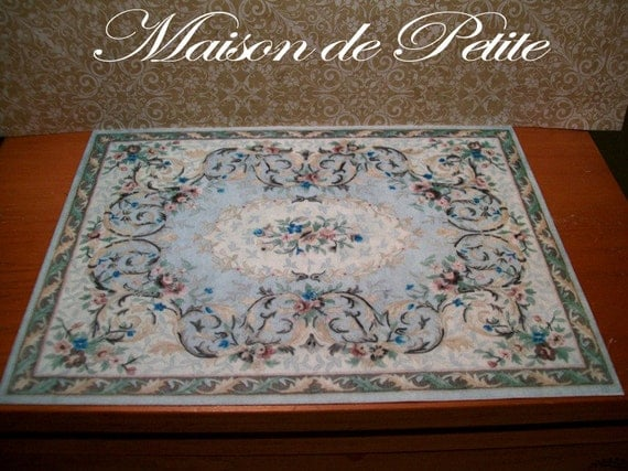 1:12 Scale Dollhouse Miniature Handmade Vintage aubusson-style Area Rug in blue -low nap plush