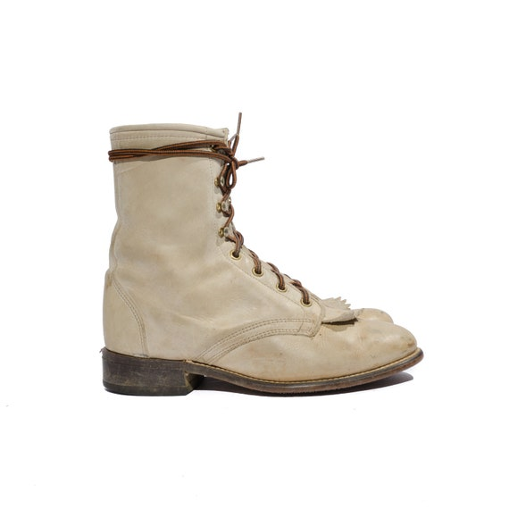 Vintage Laredo Roper Boots in Rugged Cream Colored Leather for a Women's Size 7 M