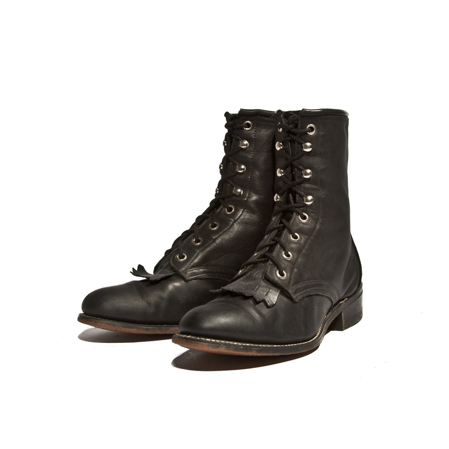 vintage laredo lace up roper boots western style in black