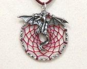 Dream Catcher Antiqued Silver Dragon Wyvern Dreamcatcher Necklace Variegated