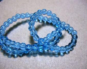 Glass Beads Blue Round 4MM