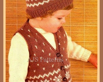 PDF Knitting Pattern for a Child's Snowflake Patterned Fair Isle Sweater, Gilet & Cap