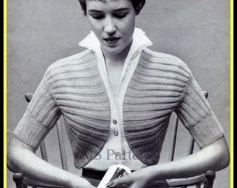 PDF Knitting pattern for a 1950's  Retro Shoulder Bolero - Instant Download