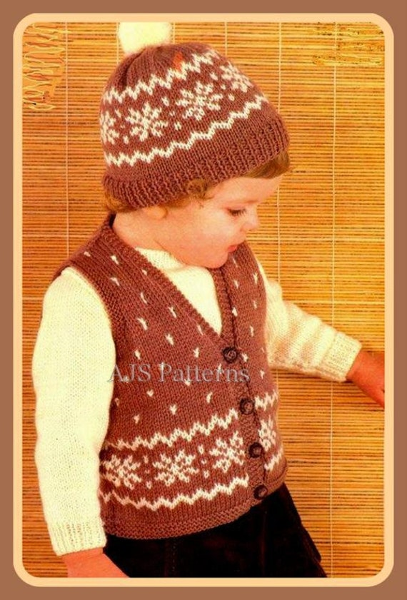 PDF Knitting Pattern for a Childs Snowflake Patterned