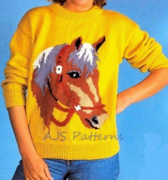 Amigurumi Horse Head : PDF Knitting Pattern Horse Horses Head Motif by ...