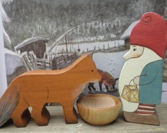 Wood Toy Set THE TOMTEN  and the FOX  Story Book Series