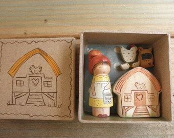 HOME is WHERE the HEART is-Farmer Girl Peg Doll-Hen House-Chicken- Chicks-Wood Toy Set