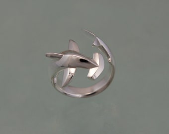 hammerhead  shark ring , silver  HIGH POLISH or SATIN finish
