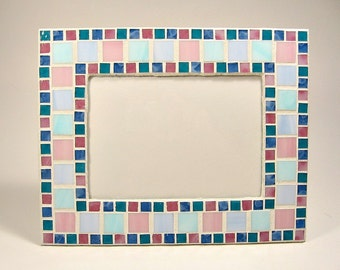 mosaic picture frame pink aqua periwinkle blue stained glass
