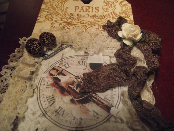 Paris  Gift  Tag Decor Lace  Glittered  Stones and French Ribbon