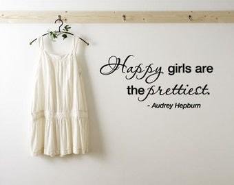 BIG Happy girls are the prettiest. - Audrey Hepburn Vinyl Wall Quote Decal