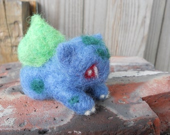 Felt Bulbasaur Figurine / Needle Felted Pokemon Plush Toy / Cartoon Anime Video Game Character