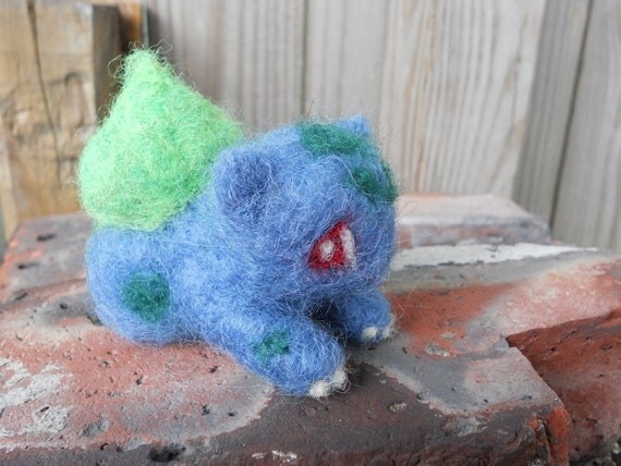 Felt Bulbasaur Figurine / Needle Felted Pokemon Plush Toy / Cartoon Anime Video Game Character