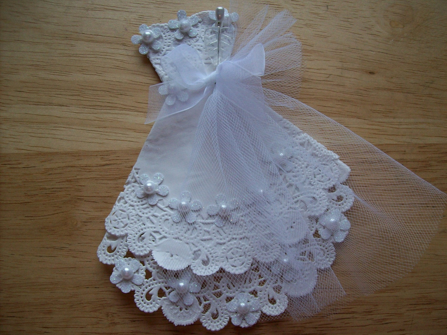 Paper Doily White Wedding Gown Embellishment For Scrapbook