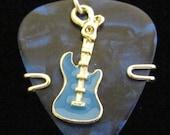 Guitar Pick Pendant - blue guitar