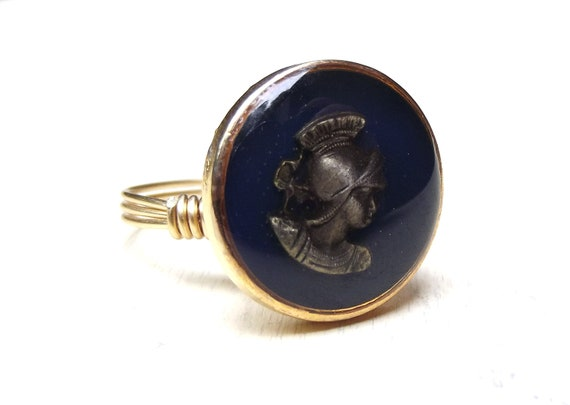 Warrior Cameo Ring:  Vintage Glass Button, Navy Blue Gold Wire Wrapped Unisex Jewelry, Size 8, Custom Size