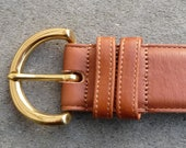 COACH BELT USA British Tan Real Glove Tanned Cowhide & Solid Brass
