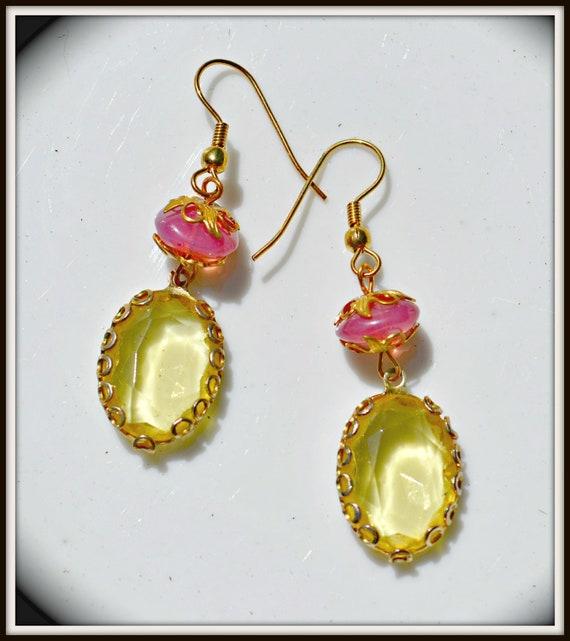 Pink and Yellow Earrings something borrowed handmade vintage jewelry gift