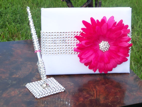 Hot Pink/Fuchsia bling pen and guest book