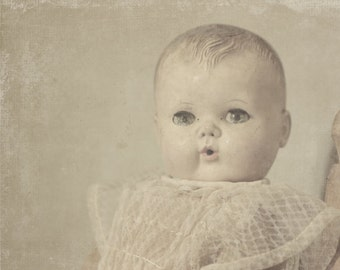 Still life photography, antique vintage doll 8x10 photograph