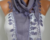 Pale Lilac Floral Pashmina Scarf,Birthday Gift, Bridesmaid Gift,Summer Scarf Cowl Cotton Scarf Gift Ideas for Her Women  Fashion Accessories