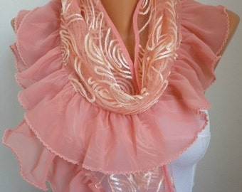 Salmon Scarf,Wedding Shawl Bridal Accessories Bridesmaid Gift Gift Ideas For Her  Women's Fashion Accessories