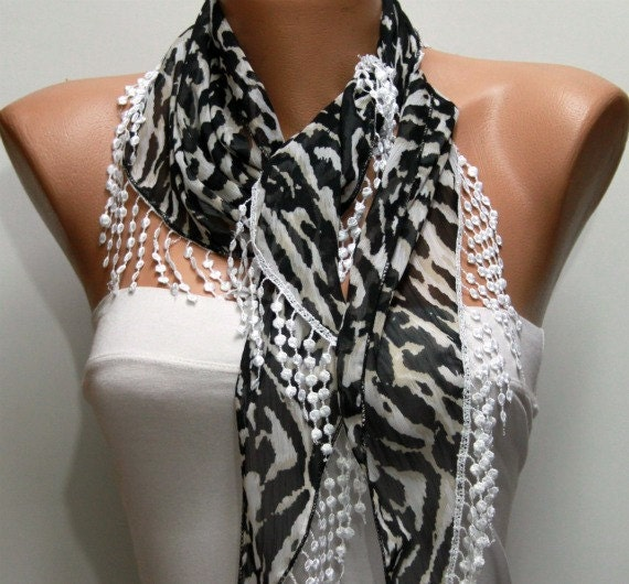 Zebra Print Scarf -   Cowl with  Lace Edge