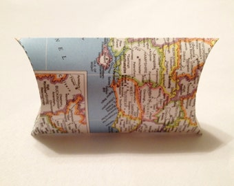 Upcycled Atlas Map Book Pillow Favor Box