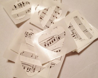 Heart Music Stickers, Music Stickers, Envelope Seals, Embellishments