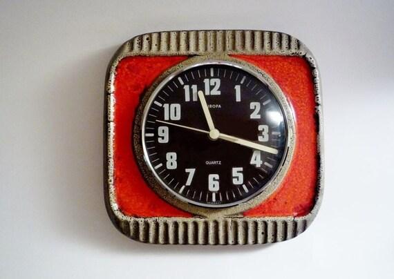 Vintage German Ceramic Wall Clock