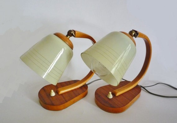 Pair of Mid Century Bedside Lamps