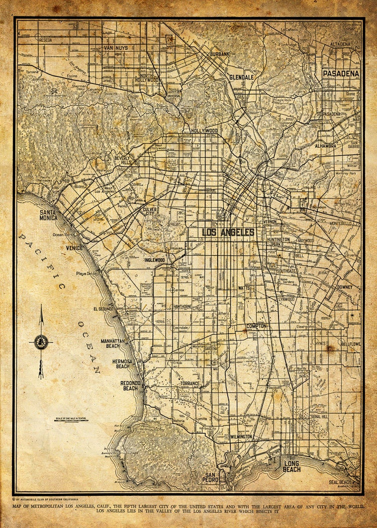 los angeles map city street map vintage sepia grunge print