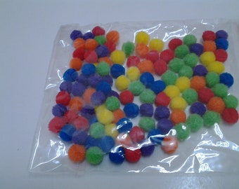 100 Pom Pom, craft pack, many colors, small, 0.3 in, scrapbooking, embellishment, doll making