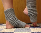 Yoga Socks in Acrylic Wool Blend in Heather Grey -- for Yoga, Dance, Pilates