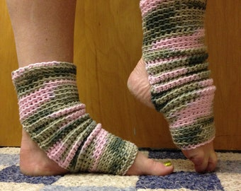 Yoga Socks in Pink Camouflage Cotton US Grown -- For Dance, Pilates, Pedicures, Yoga