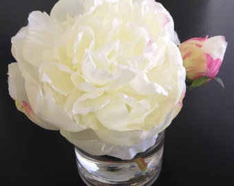Fine Silk Floral Arrangement Faux Cream Peony In Cylinder with Illusion Faux Water Shabby Chic