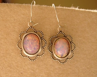 Pink silver earrings - french Harlequin Art Glass cabochon gift for her women - fantasy Valentine's