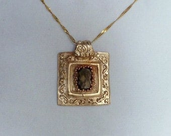 Handcrafted Bronze  Pendant with Natural Smoky Quartz Gemstone 6 Carats