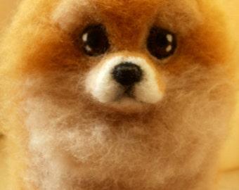 Artist Needle Felted Pomeranian Sculpture Dog - CeeCee - OOaK Pet Portrait Sculpture Memorial