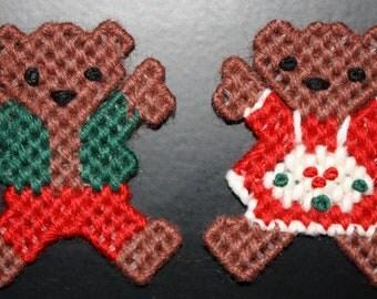 2061A Teddy & Mrs Teddy (Christmas) Magnet Set