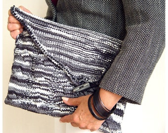 Knitted Clutch in Marble Grays.