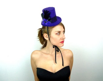 mini top hat, purple fleece, black, feathers, lace, buttons, ribbon, gems, halloween, party, burlesque, free u.s. shipping