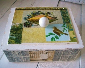 Wood cigar box white embellished antique postcard bird trees flowers