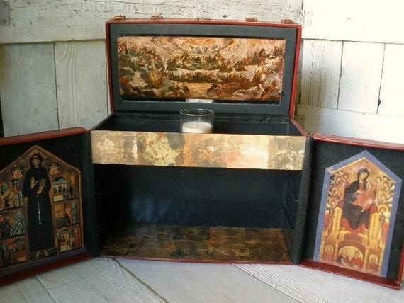 Shrine prayer box icon cabinet faux leather