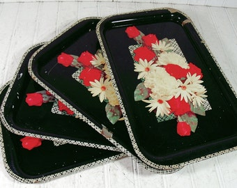 Vintage Creepy Black Metal Trays Collection for Serving or Decor - Early Gothic Floral Litho Set of 4 - Repainting Project Set of 4 Trays
